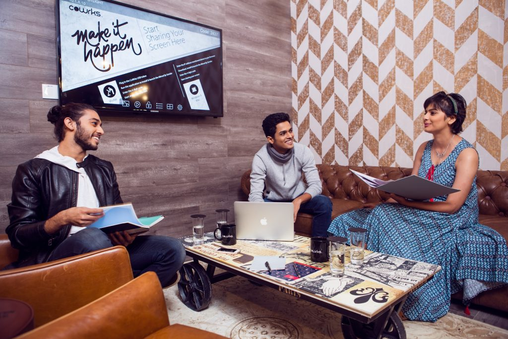 Work environment has a drastic affect on a person's love for their work and job. CoWrks is extremely particular about picking and choosing furniture which would further collaboration amongst members.